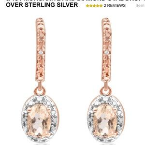 3/4 CT Morganite and diamond Oval drop earrings